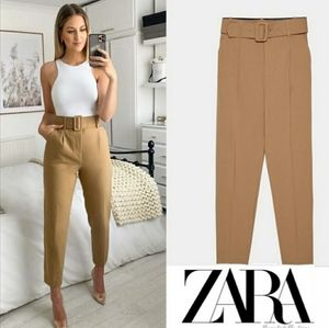 Zara high waisted belted pants- blogger's favorite